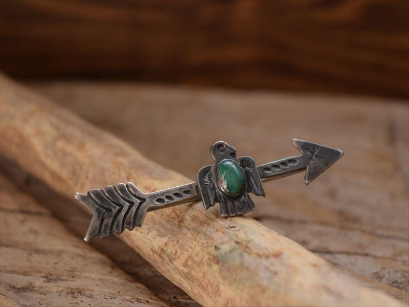 VintageI ndian Jewelry サンダーバード & アロー ターコイズ&シルバー ラージ ピン(Pins) Fred Harvey era)