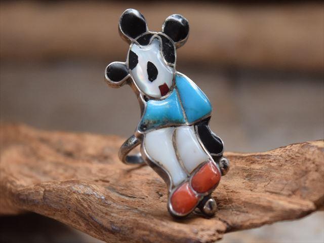 Vintage Indian Jewelry 70s ズニ族 マルチインレイ 10.5号 リング mouse モチーフ ミッキーマウス Mickey オーバーのアイテム取扱☆ 営業