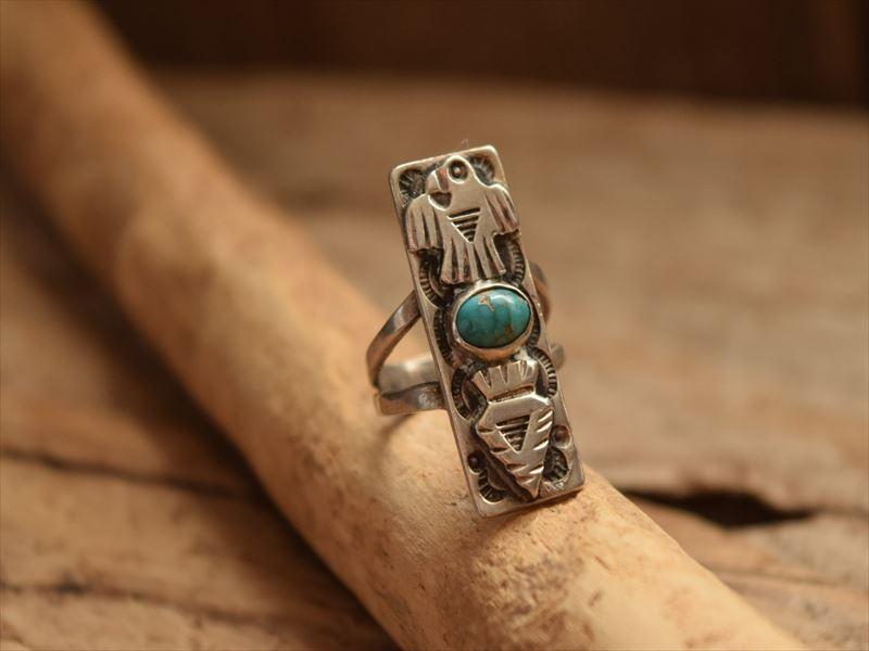 Vintage Indian Jewelry コインシルバー&ターコイズ サンダーバード アローヘッド リング 7号 (Fred Harvey era)