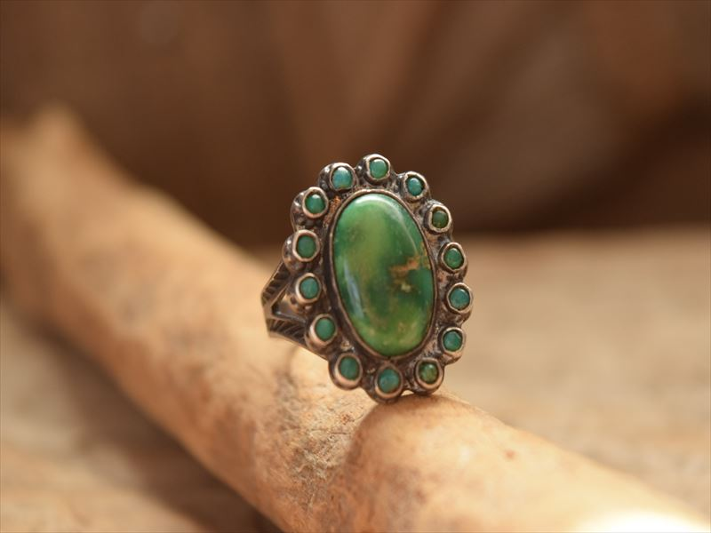 Rare!! vintage Indian Jewelry 15 Line ターコイズ クラスター リング (10号) Fred Harvey era