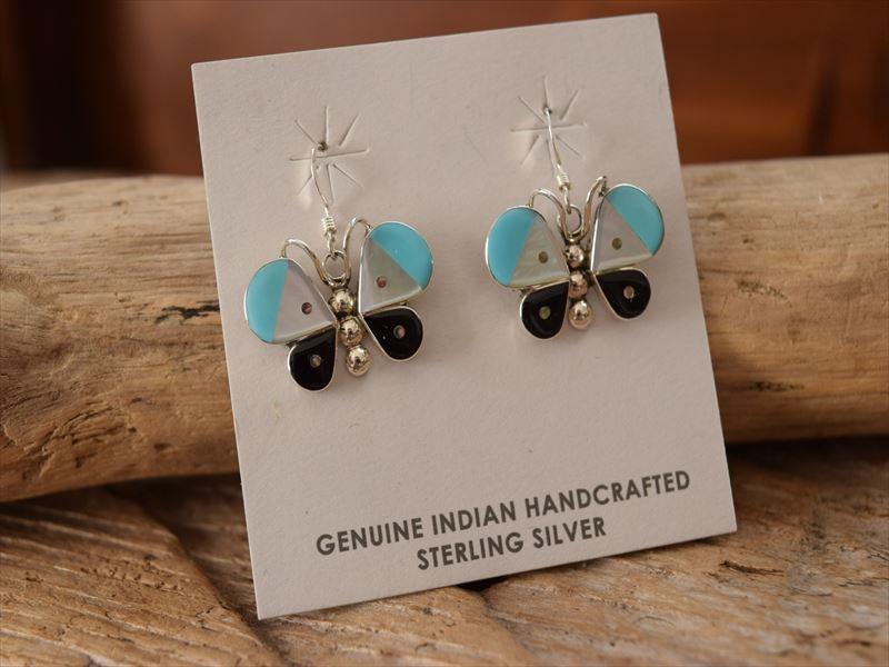 Indian Jewelry ズニ族 マルチインレイ バタフライ(蝶)マルチストーン シルバー フック ピアス
