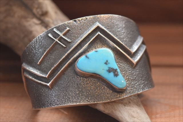 Navajo Indian Jewelry Silver Native American jewelry, artist Aaron Anderson (Aaron Anderson) made turquois
