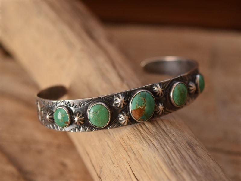 Vintage Indian Jewelry 5ine ターコイズ コインシルバー バングル(Fred Harvey era)