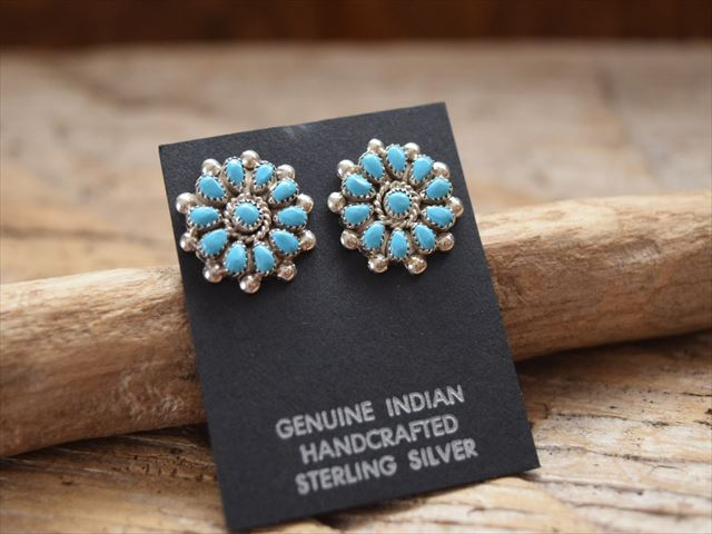 Indian Jewelry Navaho サリーヤジー Sally Yazzie Turquoise Cer Flower Post Pierced Earrings