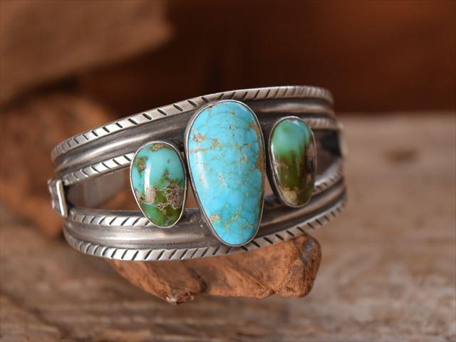 Indian Jewelry ランディー ババ シャッケルフォード (Randy Bubba Shackelford)インゴット & 3Line ターコイズ バングル FTC