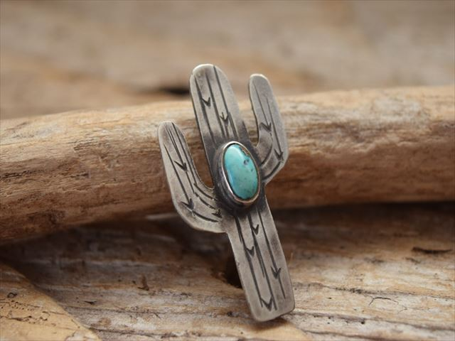 インディアン ジュエリー カクタス(サボテン) ターコイズ ピン(Pins) made by The Garrison Jewelry (レイチェル ギャリソン) Rachel Garrison p1