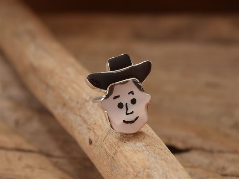 Indian Jewelryズニ族 ポーラ・リキティー ウッディー(Woody) モチーフ リング(10号)