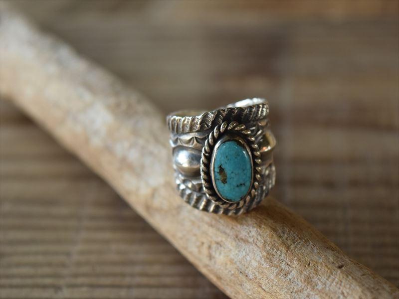 Indian Jewelry クリスビリー(Chris Billie) トゥファキャスト インゴット インゴット シルバー ターコイズ リング (18号) krs