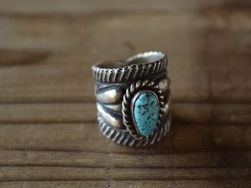 Indian Jewelry クリスビリー(Chris Billie) トゥファキャスト インゴット インゴット シルバー ターコイズ リング (12号) krs