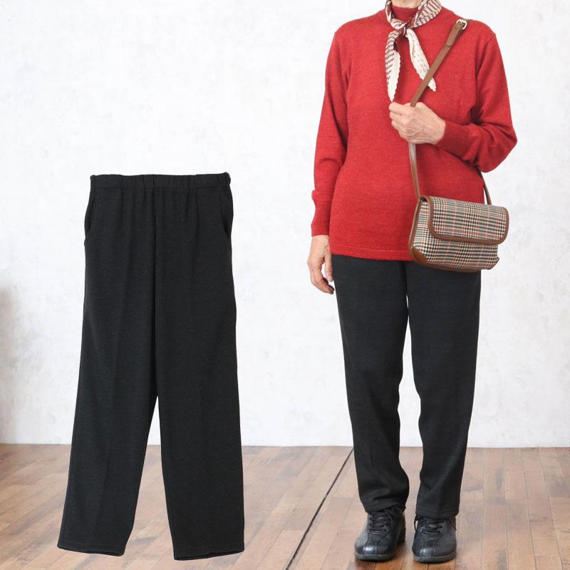 裏シャギー ジャカード プリント スラックスパンツ 股下60cm ※取寄せ品(シニアファッション 70代 80代 60代 あったか 防寒 暖かい秋冬 ハイミセス 婦人 レディース おばあちゃん 服 お年寄り 高齢者 プレゼント):TCマート シニアファッション