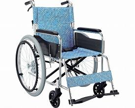 アルミ自走用車いす フロールEX-50KS 小花ブルー(車椅子 車いす 車イス 送料無料 座幅 自走用 折り畳み 折りたたみ   介護用品  高齢者用 老人用)