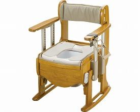 木製トイレ きらく座優 肘掛昇降18740 エクスジェル脱臭便座(ポータブルトイレ簡易トイレ 介護用 非常用  介護用便座 介護 トイレ 介護用品 トイレ    )