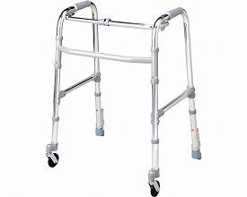 固定型歩行器 キャスター・ストッパー付 BタイプT-5133 シルバー(介護歩行器 リハビリ 福祉用具 歩行訓練 介護用品 大人用 高齢者用 老人用 )