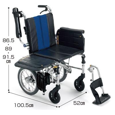 横乗り車いす介助型ラクーネ3 LK-3(車椅子 車いす 車イス 送料無料 座幅 介助用 折り畳み 折りたたみ  軽量  介護用品  高齢者用 老人