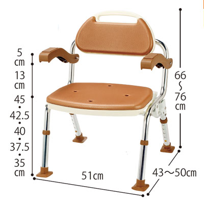 折りたたみシャワーベンチSOFTEK 肘掛・背付き(シャワーチェア バスチェアー 介護用風呂椅子 シャワーベンチ 介護用品  高齢者用 老人用  )