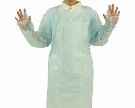 ディスポガウン 親指フックタイプ 10枚入×12箱No.755 ブルー(介護用品 消毒 除菌 感染予防 便利グッズ)
