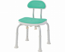 コンパクトバスチェア 背付きBC-01H-GR グリーン(シャワーチェア バスチェアー 介護用風呂椅子 シャワーベンチ 介護用品  高齢者用 老人用  )
