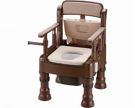 ポータブルトイレ きらく ミニでか やわらか便座脱臭器付 MY-D型45643 ダークブラウン(ポータブルトイレ簡易トイレ 介護用 非常用  介護用便座 介護 トイレ 介護用品 トイレ    )