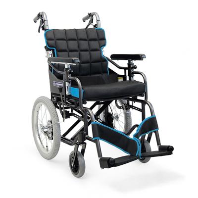 アルミ介助用車椅子 標準型モジュール[押して高さ調整機能]ひじ掛け高さ調節車いす 送料無料  介助式 介助用