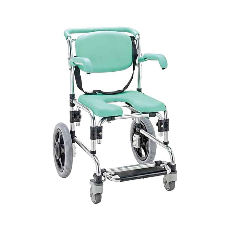 入浴用車椅子シャワーキャリーグリーン(肘掛跳ね上げ式)  車いす 送料無料  入浴 介護用品 入浴用品 お風呂用品 シャワーキャリー( 母の日 プレゼント 2019 )