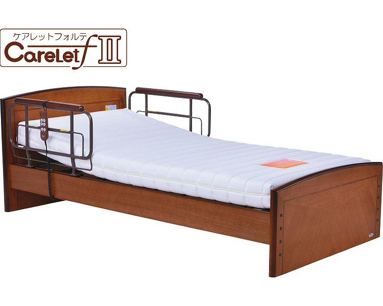介護ベッド 電動リクライニング ケアレットフォルテ 1+1モーターフラットタイプP201-5KBA-CS 硬質ウレタンマットレス (介護用品 福祉用具 高齢者 老人 お年寄り 便利グッズ ベッド 寝具)
