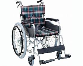 自走用スタンダードモジュール車いす SMK50-4243CO 座幅42cm チェックオレンジ (車椅子 軽量 折り畳み 車イス 車いす 自走用 介護 折りたたみ式 お洒落 )
