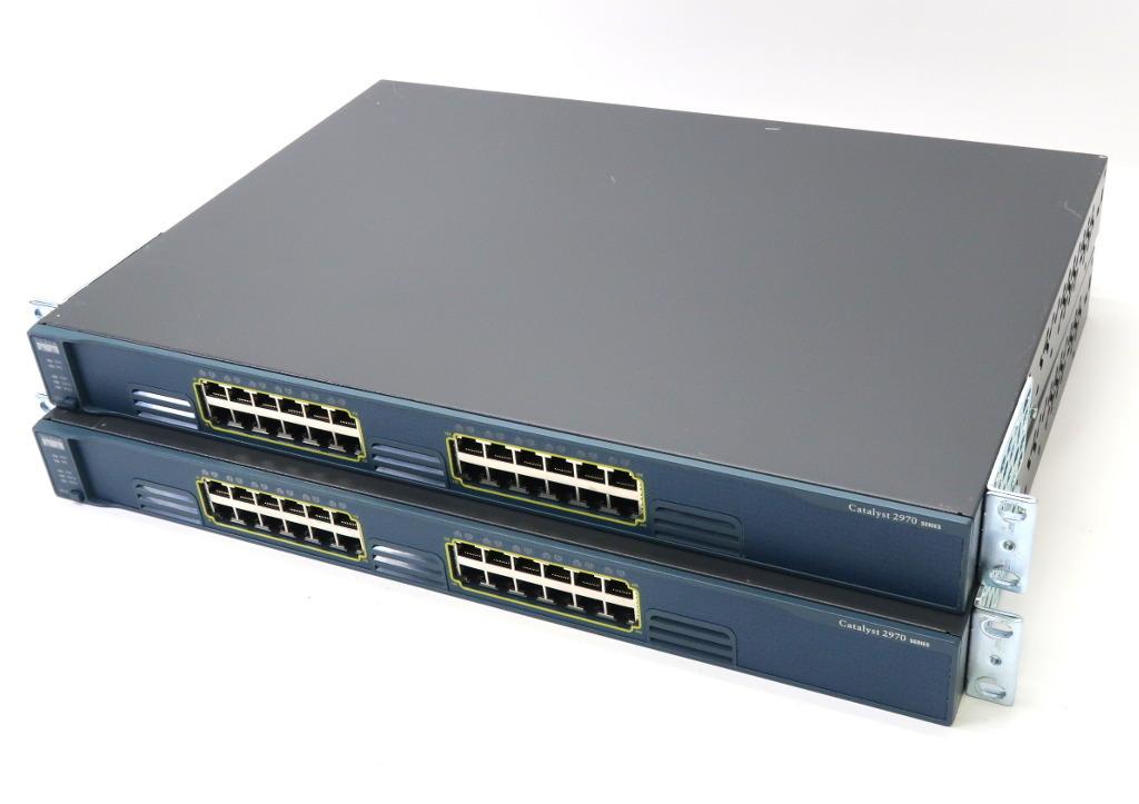 Cisco 2台セット Catalyst 2970 WS-C2970G-24T-E IOS C2970-LANBASE-M 12.2(25)SEB4 設定初期化済 【中古】【20180531】