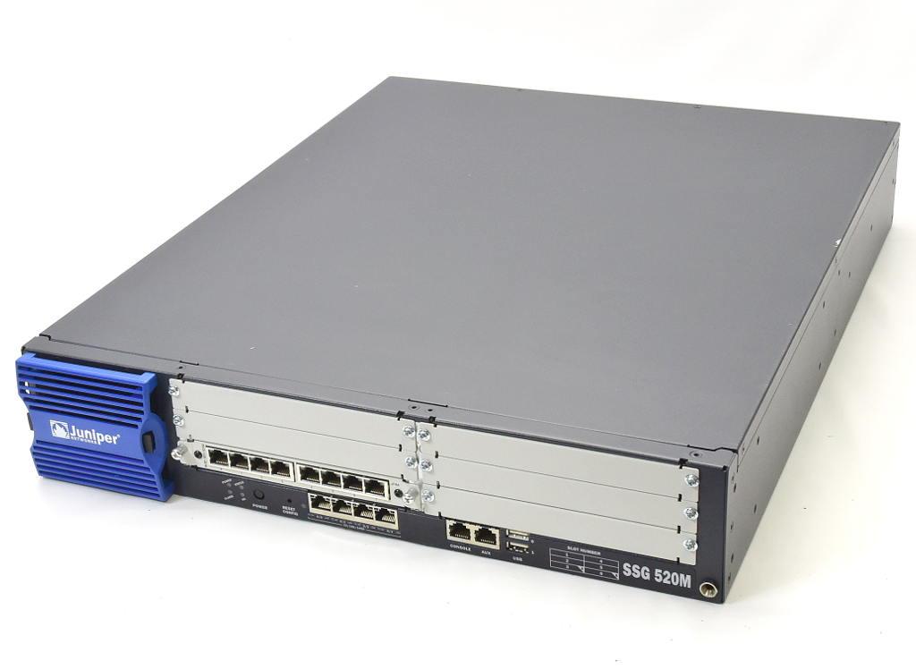 Juniper SSG 520M ScreenOS 6.2.0r8.0 JXU-8GE-TX-S増設 FireWall+VPN Advancedライセンス 1000BASE-T 設定初期化済 【中古】【20180722】