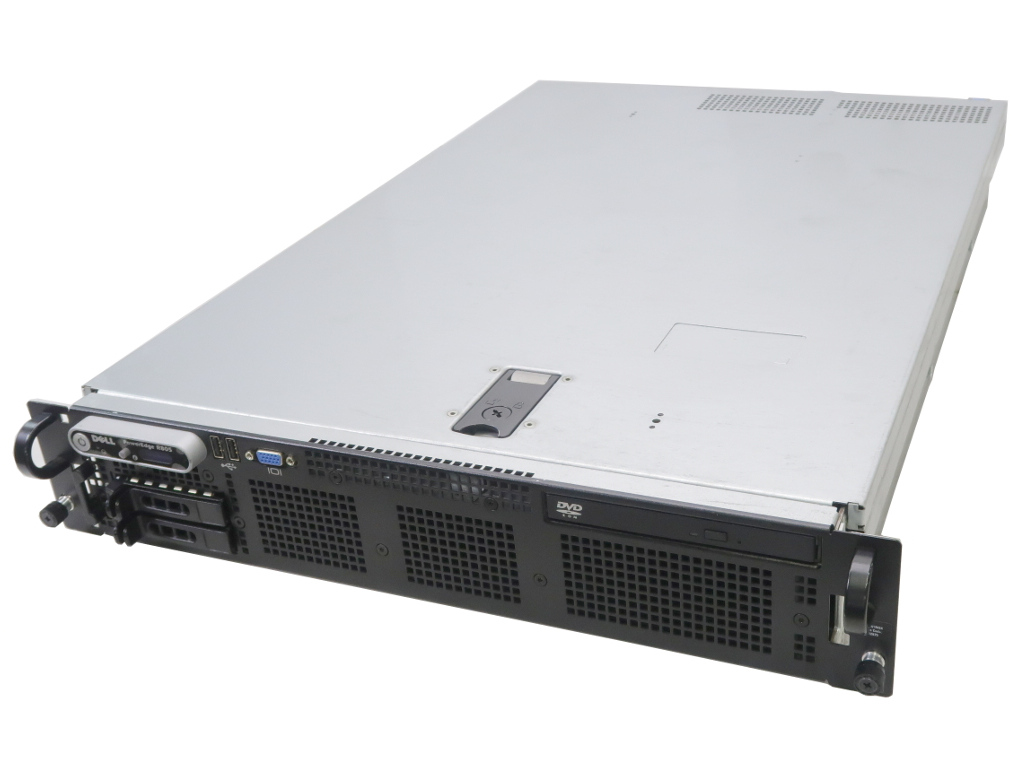 DELL PowerEdge R805 Opteron 2376 2.3GHz*2 8GB 500GBx2台(SATA2.5インチ/RAID1構成) DVD-ROM PERC 6/i 【中古】【20180826】