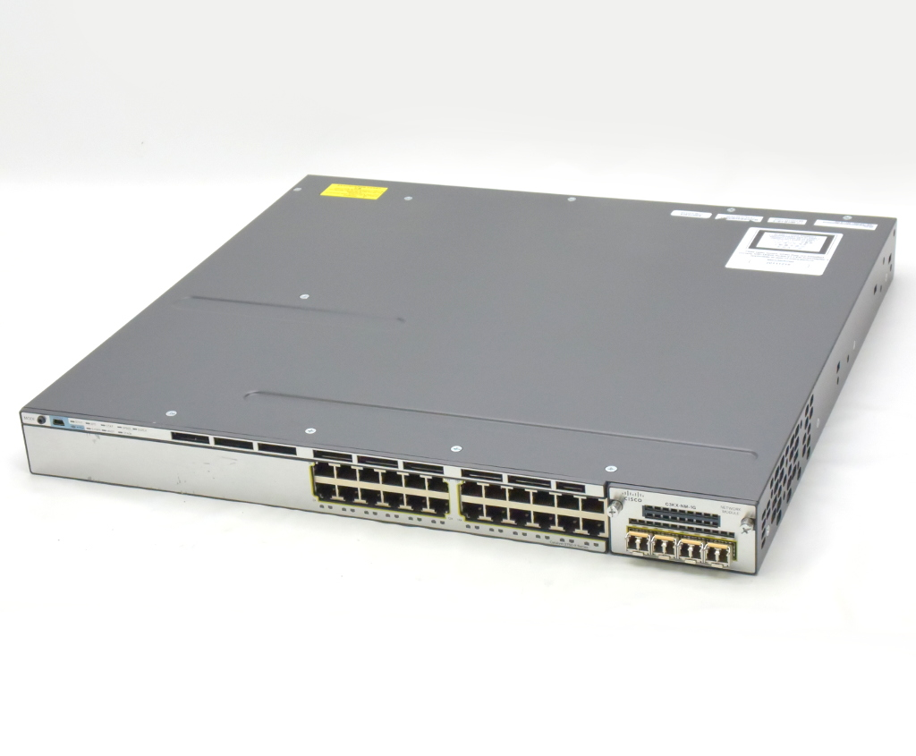 Cisco Catalyst 3750-X WS-C3750X-24T-S V04 Ver.15.0(2)SE IPServices GLC-SX-MMD 設定初期化済 【中古】【20180914】