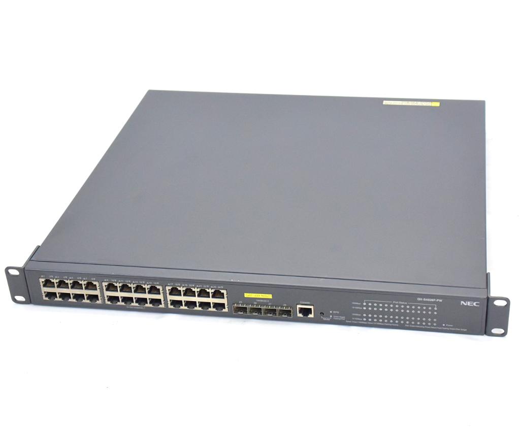 NEC QX-S4028P-PW 24ポートPoE+対応 GbE L2スイッチ 設定初期化済 【中古】【20181122】