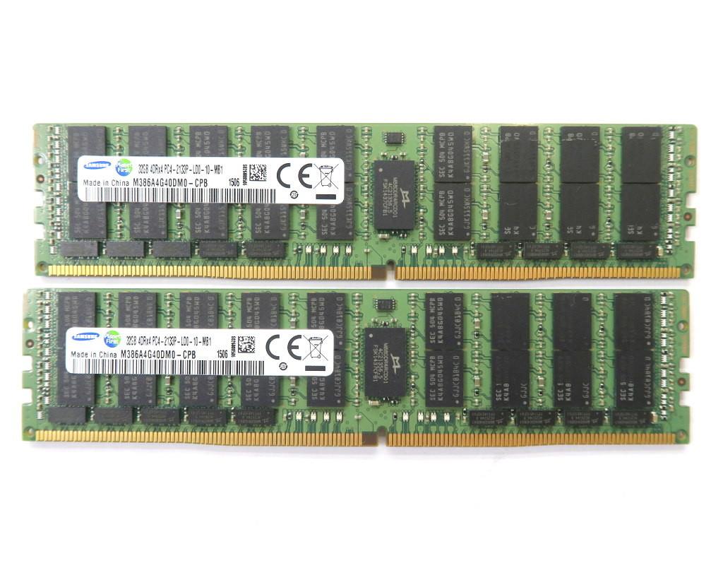 Samsung 32GBx2枚セット 64GB分 PC4-2133P DDR4 Reg ECC hp Z440/640/840 DELL T5810/7810/7910等対応 【中古】【20190215】
