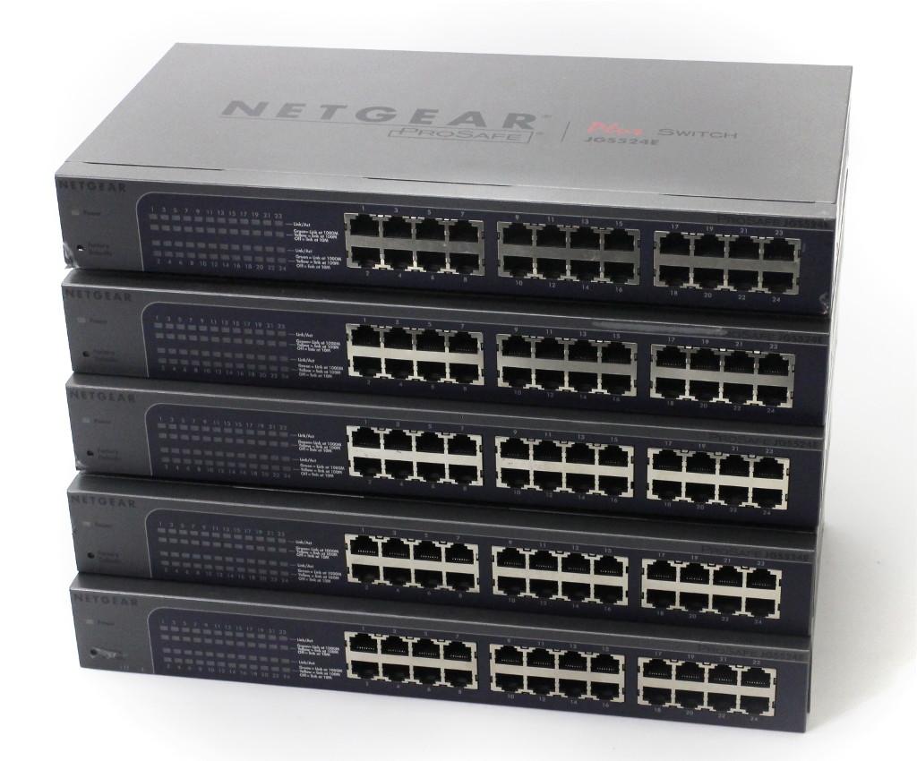 NETGEAR 5台セット JGS524E GbE 24ポート アンマネージプラスL2スイッチ QoS GUI 設定初期化済 【中古】【20190219】
