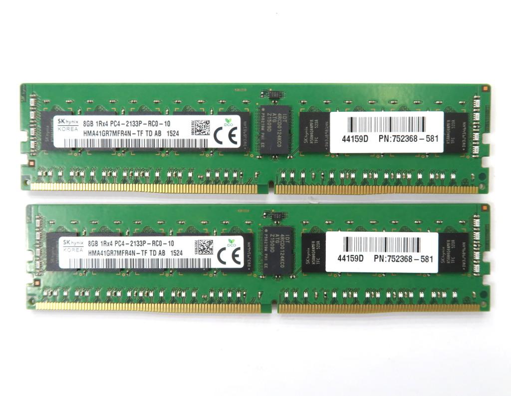 hp 752368-581 8GBx2枚セット 16GB分 PC4-2133P 8GB DDR4 Reg ECC hp Z440 Z640 Z840 等対応 【中古】【20190409】