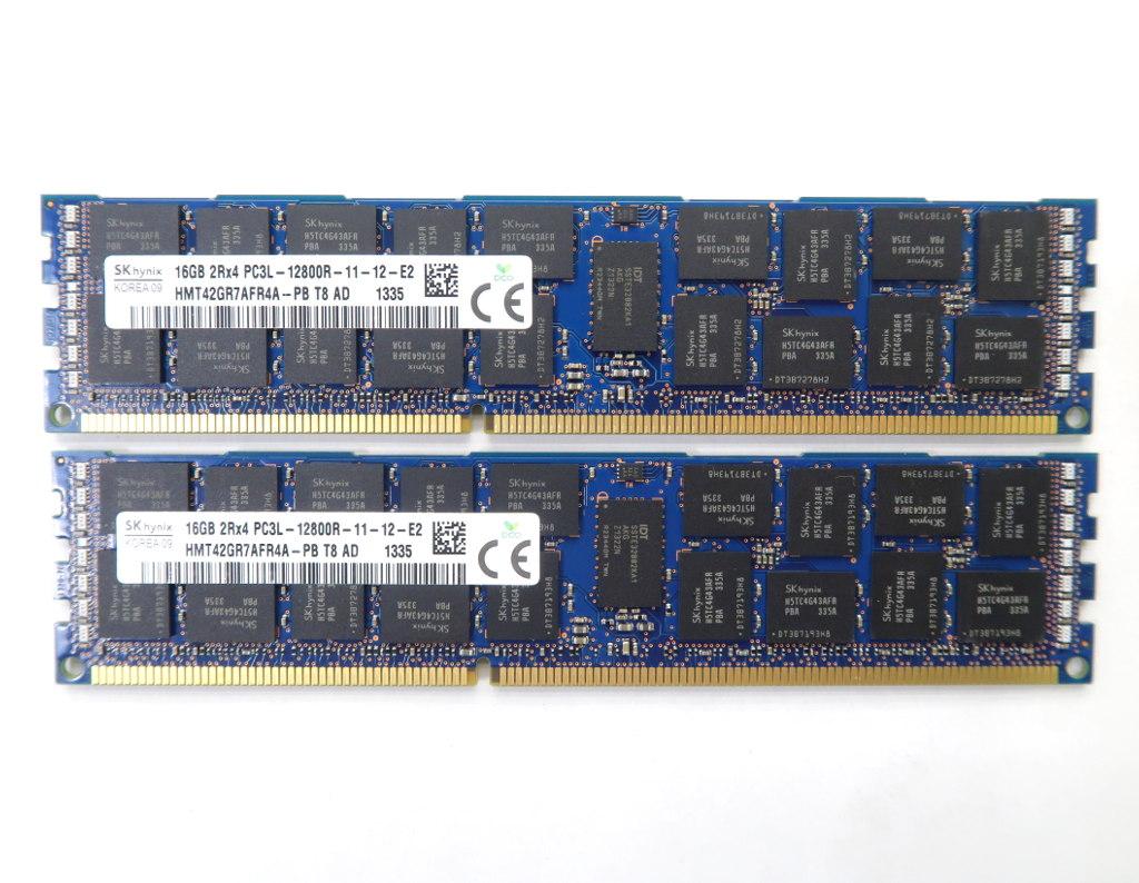 SK hynix 16GBx2枚セット 32GB分 PC3L-12800R DDR3L Reg ECC DELL T3600/T5600/T7600 hp Z820/Z620等対応 【中古】【20190409】