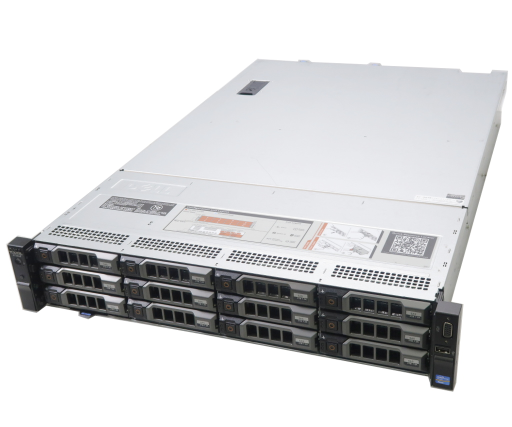【送料無料対象外】DELL PowerEdge R720xd Xeon E5-2650L 1.8GHz 32GB 300GBx2台(SAS2.5/RAID1) 3TBx12(SAS3.5/RAID6) AC*2 PERC H710P Mini 【中古】【20190325】
