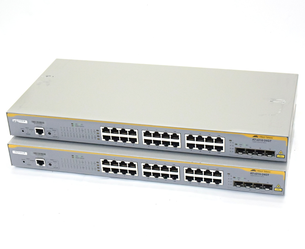 Allied Telesis 2台セット CentreCOM AT-x210-24GT 24ポート 1000BASE-T L2plusスイッチ 設定初期化済 x210-5.4.3-2.6.rel 【中古】【20190322】