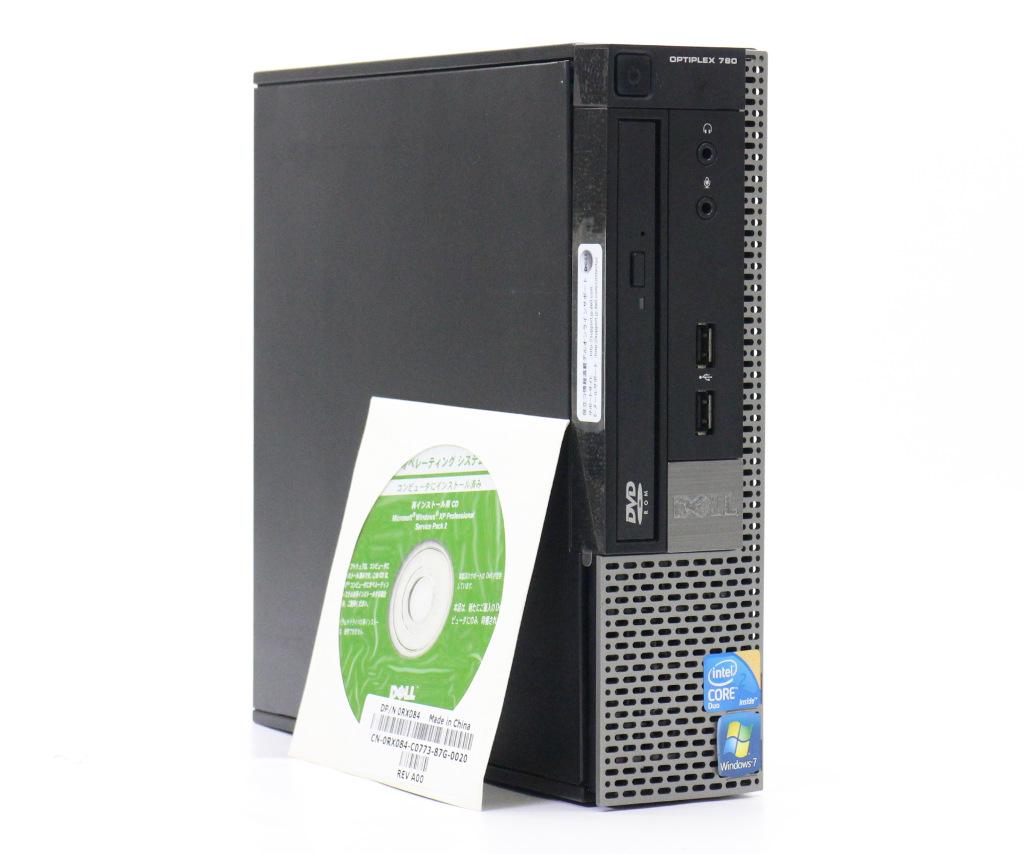 DELL OptiPlex 780 USDT Core2Duo E7500 2.93GHz 2GB 500GB(HDD) DisplayPort アナログRGB出力 DVD-ROM WindowsXP Pro 32bit 【中古】【20190404】