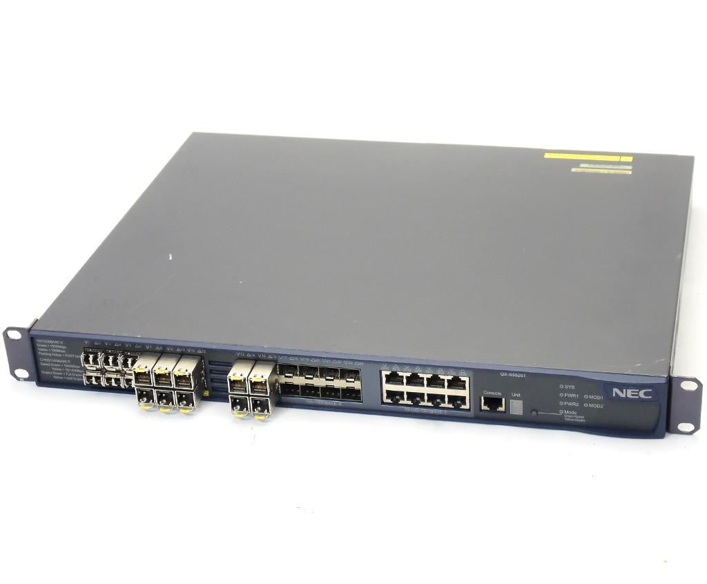 NEC UNIVERGE QX-S5526T 24ポートSFPスロット(内8ポート1000BASE-T RJ-45ポート兼用)搭載 L3スイッチ 設定初期化済 【中古】【20190401】