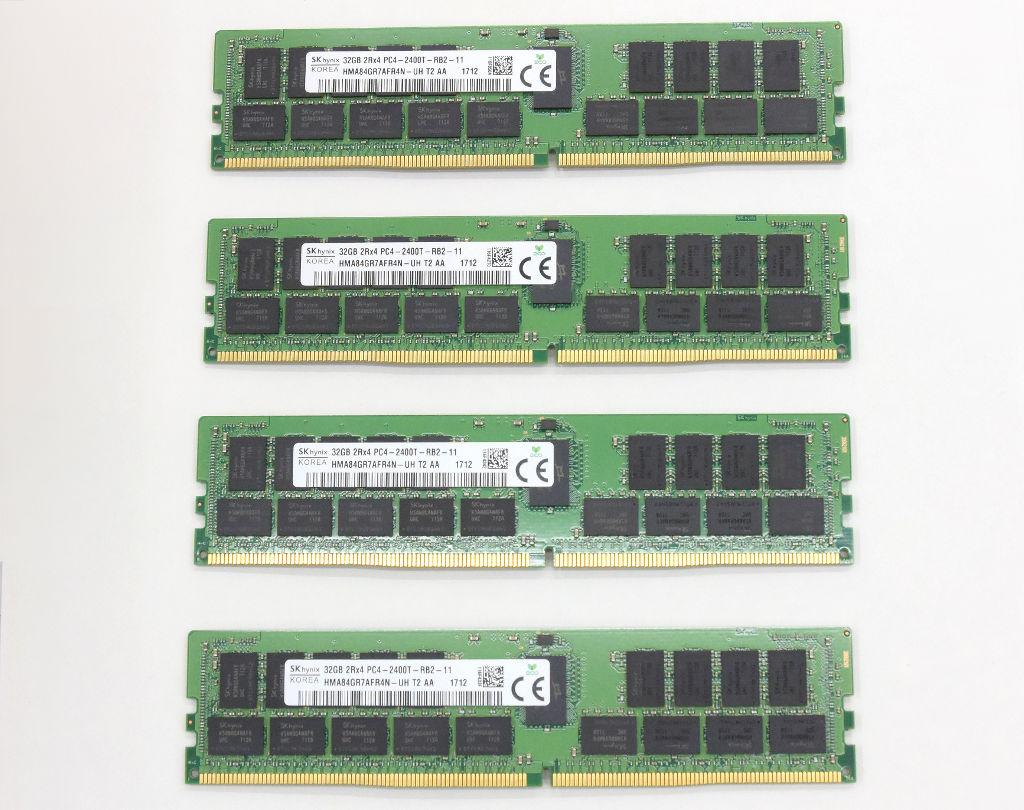 最安値挑戦 Sk hynix 32GBx4枚セット 128GB分 PC4-2400T-R 開店記念セール DDR4 Registered ECC ハイエンドワークステーション hp サーバー 840等 中古 640 20210827 Z440 2Rx4