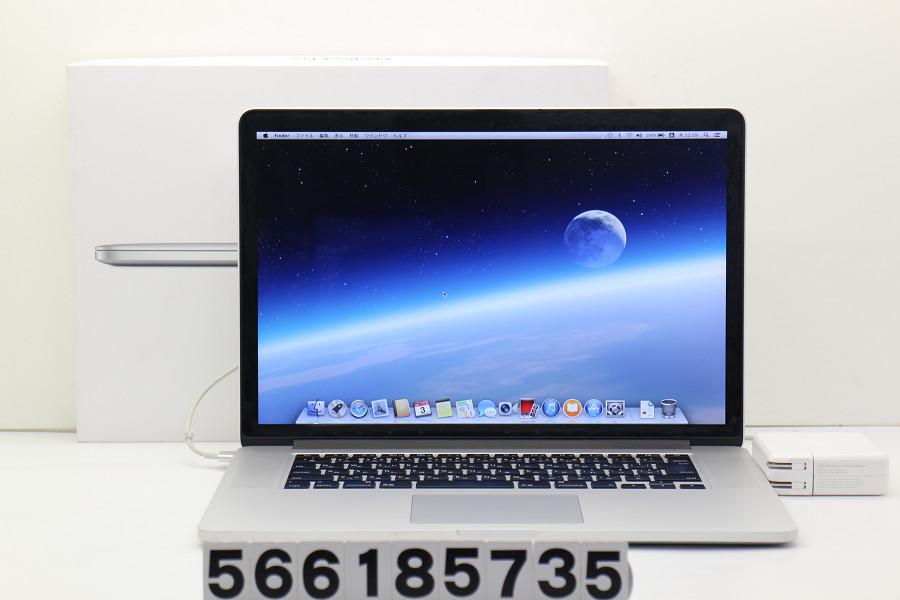 Apple MacBook Pro Retina A1398 ME294J/A Core i7 4850HQ 2.3GHz/16GB/512GB(SSD)/15.4W/QWXGA+(2880x1800)【中古】【20180704】