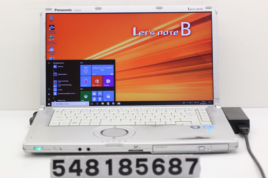 Panasonic CF-B10BW6YS Core i7 2620M 2.7GHz/4GB/750GB/Multi/15.6W/FHD(1920x1080)/Win10【中古】【20180821】