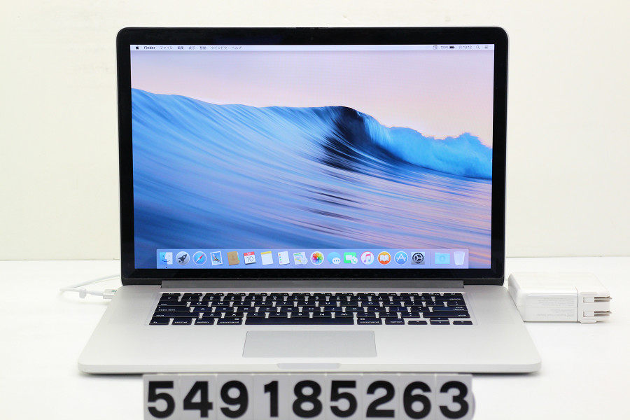 Apple MacBook Pro Retina A1398 Late 2013 Core i7 4850HQ 2.3GHz/8GB/256GB(SSD)/15.4W/QWXGA+(2880x1800)【中古】【20180911】