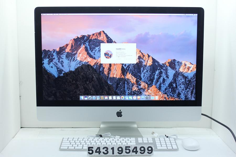 Apple iMac 27インチ A1419 Late 2012 MD095J/A Core i5 3470S 2.9GHz/8GB/1TB/27W/WQHD(2560x1440)【中古】【20190320】