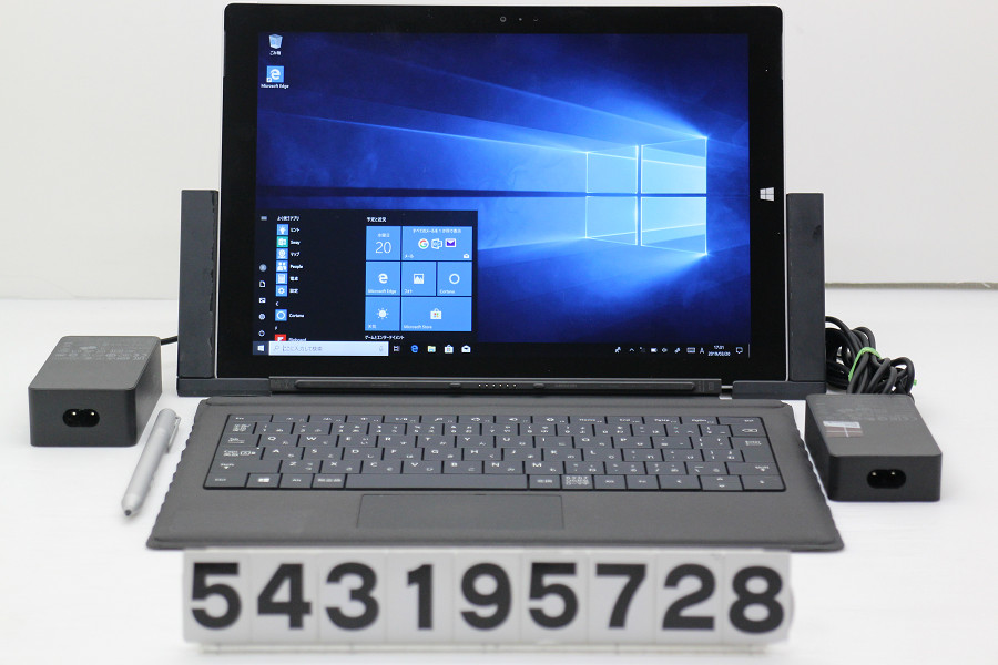 Microsoft Surface Pro 3 128GB Core i5 4300U 1.9GHz/4GB/128GB(SSD)/12W/QHD/Win10 ペン、ドック付属 Webカメラ不良【中古】【20190322】