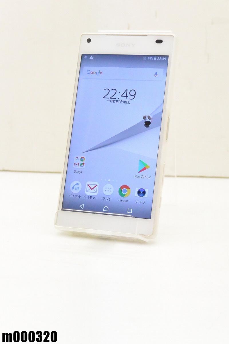 白ロム docomo SONY Xperia Z5 Compact 32GB Android7 ホワイト SO-02H 初期化済 【m000320】 【中古】【K20190306】