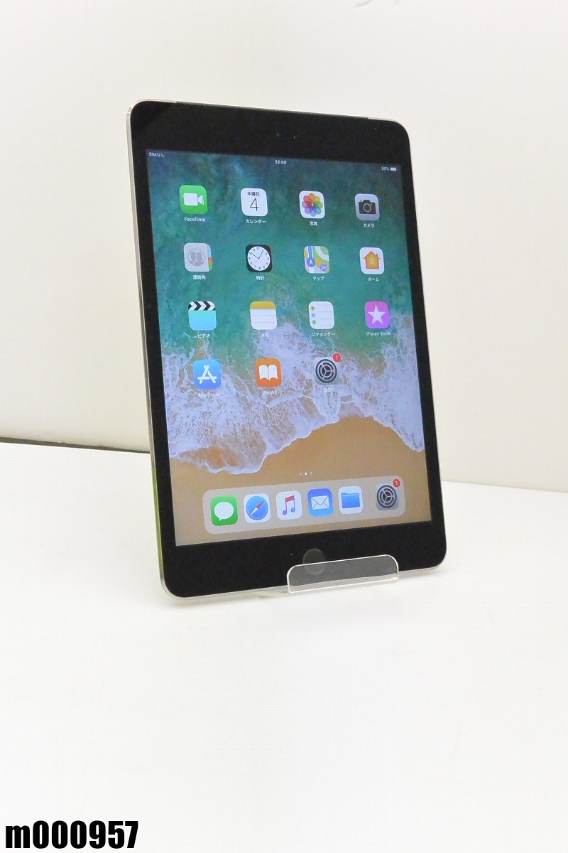 白ロム au Apple iPad mini 4+Cellular 64GB iOS11.4.1 Space Gray MK722J/A 初期化済 【m000957】 【中古】【K20190409】