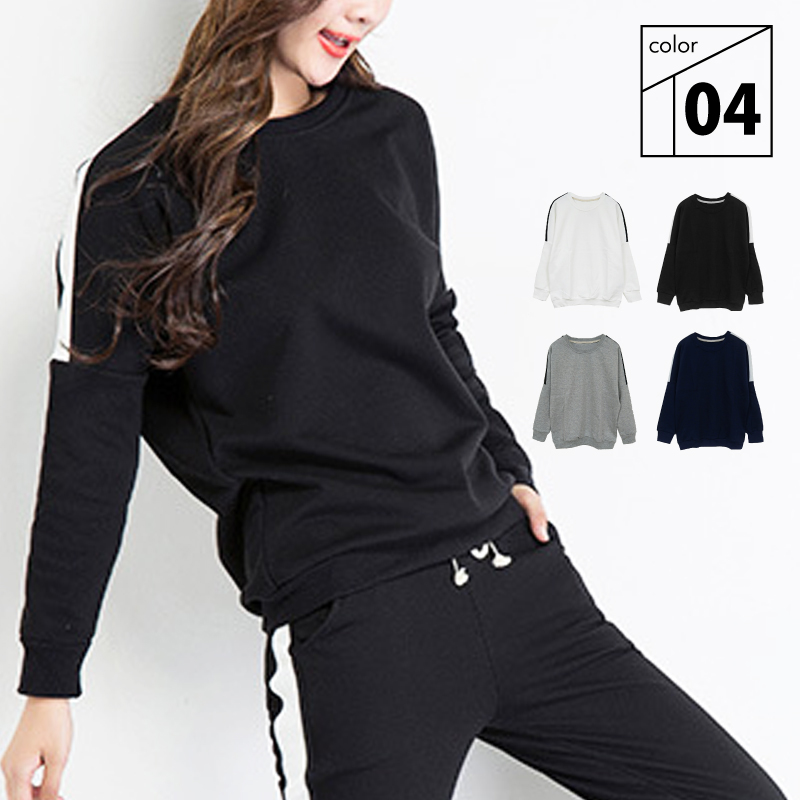 dc54e1eba0d Sweat shirt tops lady s white   gray   black   navy S M L XL XXL  dropped  shoulder sleeve jersey roomware active wear house coat exercise yoga  housedress ...