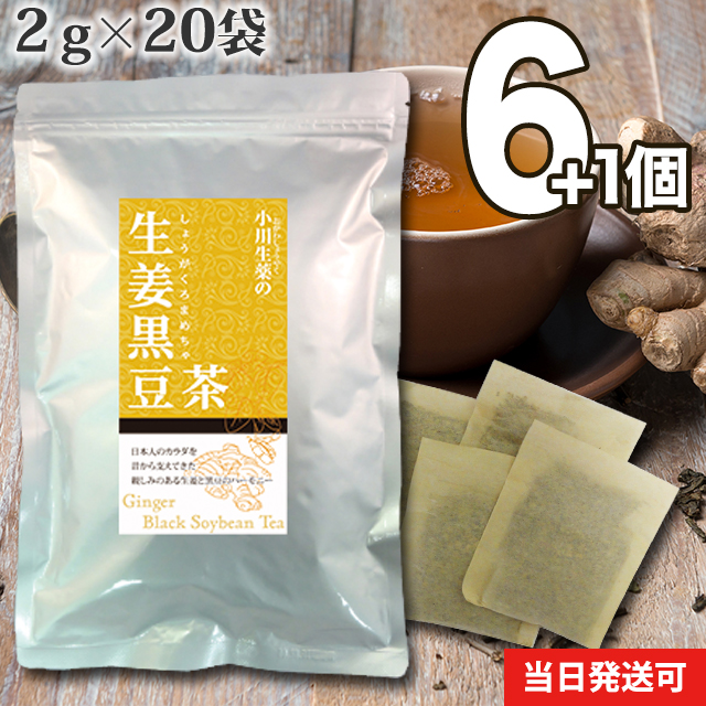 【送料無料】 小川生薬 生姜黒豆茶 国産 2g×20袋 無漂白ティーバッグ 6個セットさらにもう1個プレゼント