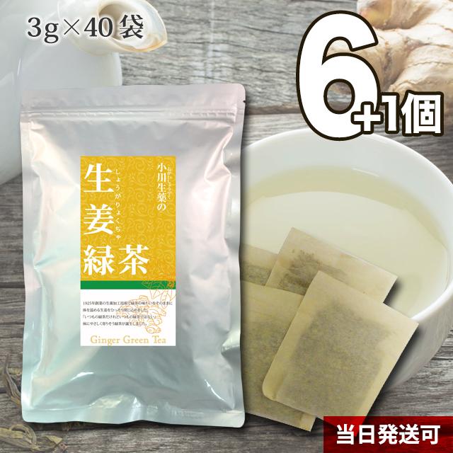 【送料無料】 小川生薬 生姜緑茶(しょうが緑茶/ショウガ緑茶) 国産 3g×40袋 無漂白ティーバッグ 6個セットさらにもう1個プレゼント